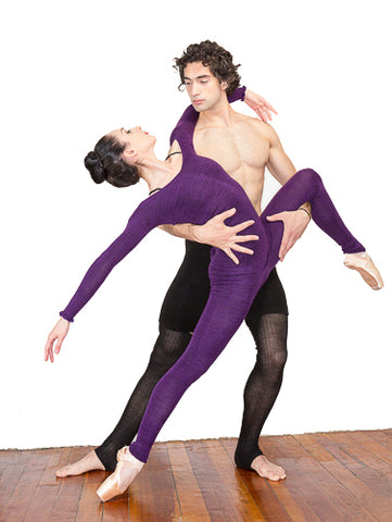 KD dance New York Gvantsa and Otar Purple Tights Mens Dancewear Made In USA