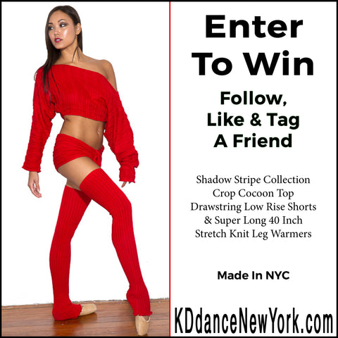 Sabrina Imamura @SabrinaMiko #SabrinaImamura Enter our Weekly KD dance New York Outfit Contest: Shadow Stripe Collection Crop Cocoon Top, Drawstring Low Rise Shorts & Super Long 40 Inch Stretch Knit Leg Warmers.