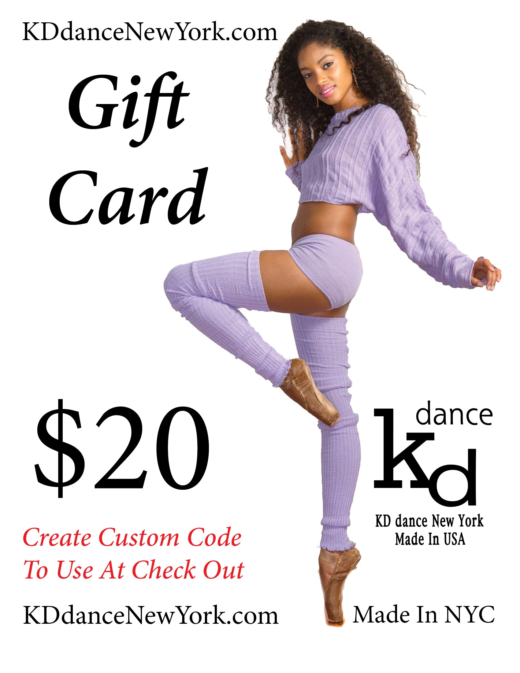Gift Card For KD dance Dancewear, Easy Gifting To Your Favorite Dancer, Yogi or Cute Couch Potato
