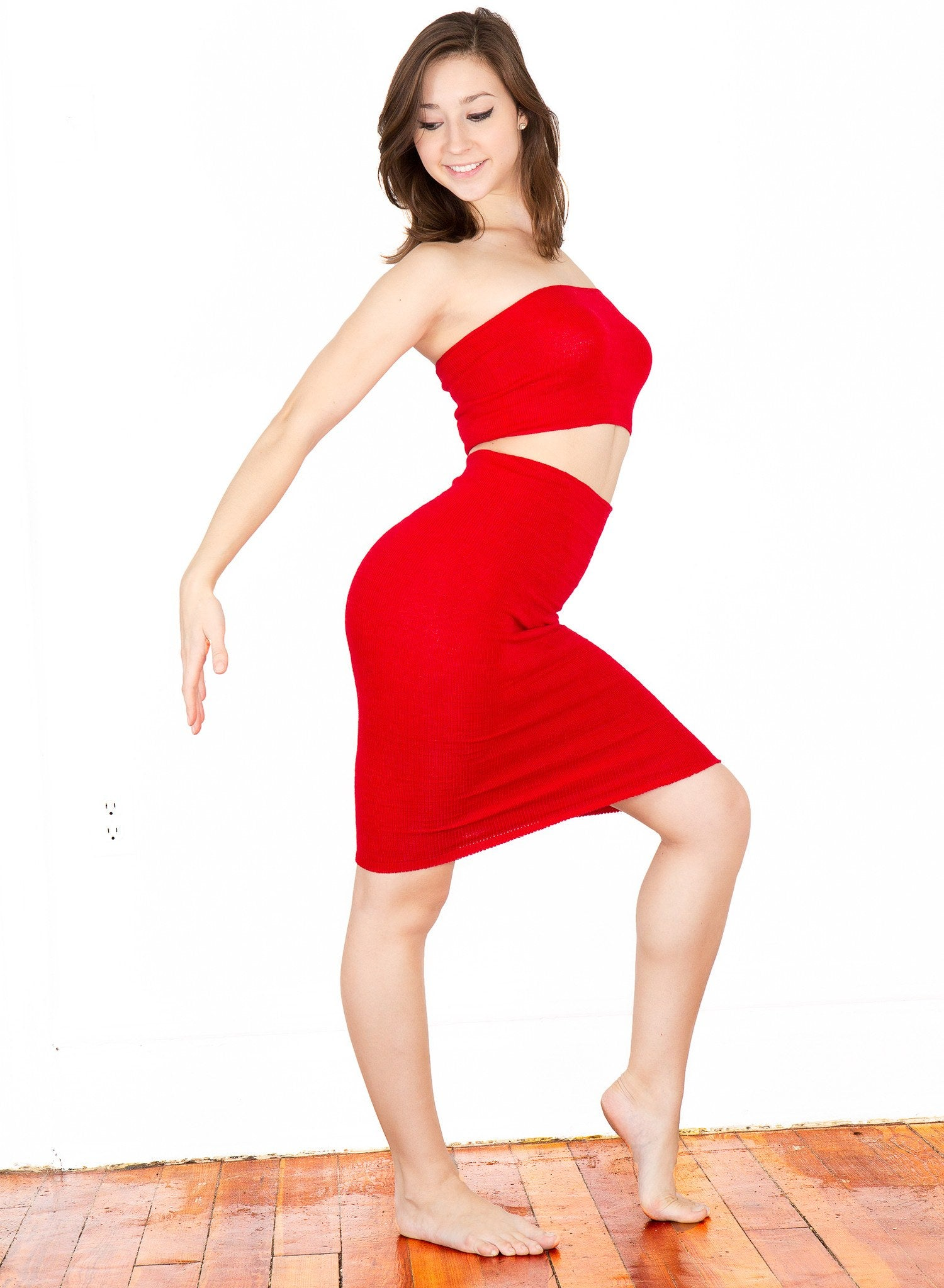 Sexy Knee High Hipster To High Rise Sweater Dress & Rib Length Tube Top Set Made In USA @KDdanceNewYork #MadeInUSA - 2