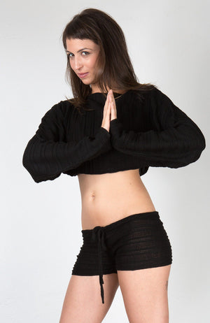 Low Rise Drawstring Yoga Dance Shorts & Cocoon Top @KDdanceNewYork #MadeInUSA - 3
