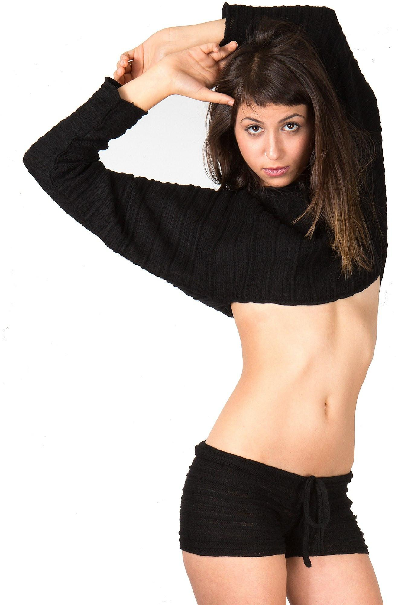 New York Black / Large Low Rise Drawstring Yoga Dance Shorts & Cocoon Top @KDdanceNewYork #MadeInUSA - 1