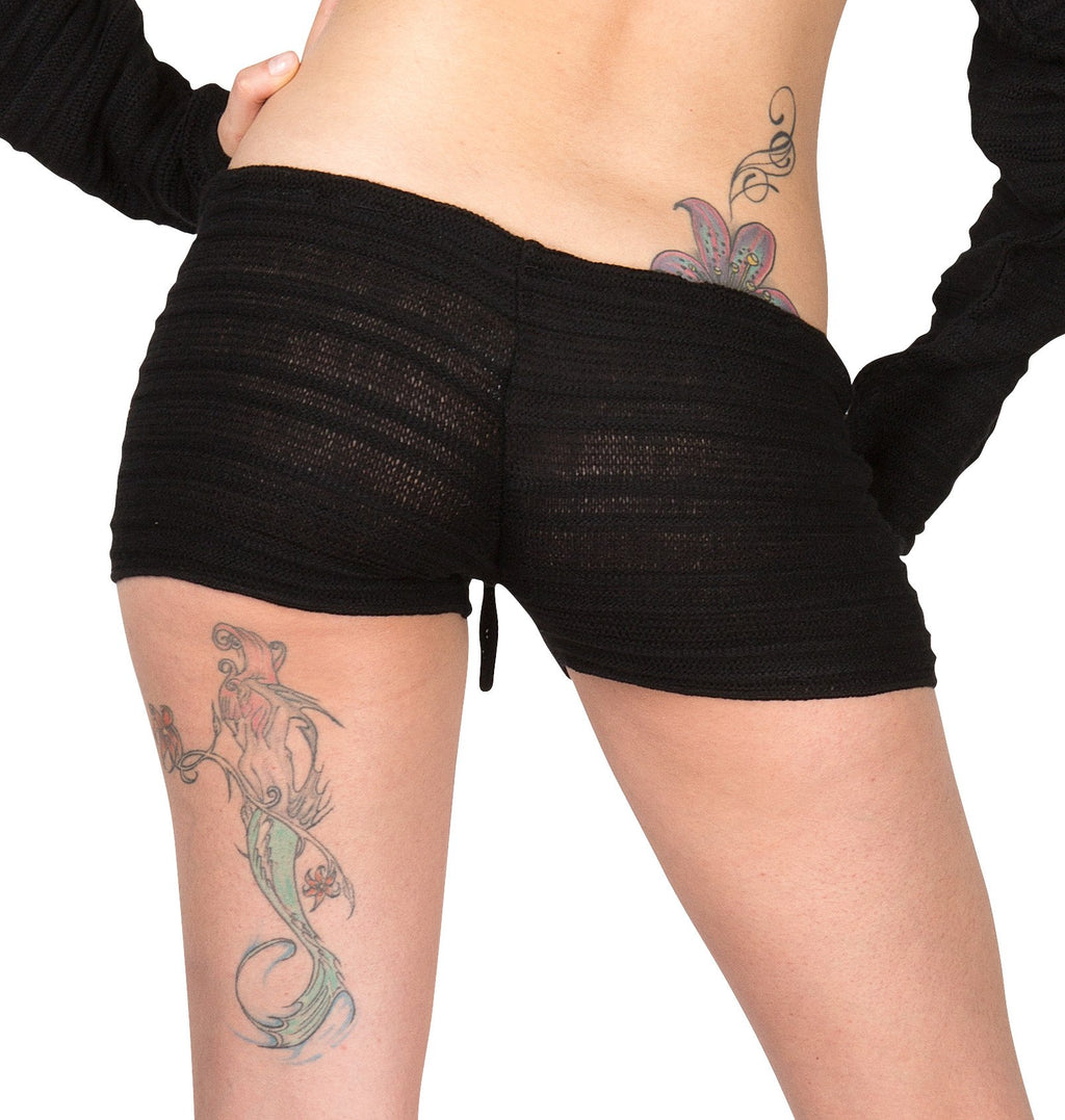 New York Black / Large Drawstring Shorts Yoga & Dance Sexy Stretch Knit Low Rise Shadow Stripe Shorts KD dance Made In USA @KDdanceNewYork #MadeInUSA - 1