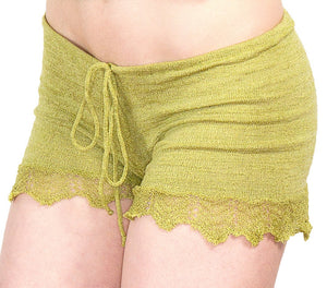 Shorts:  Sexy Lace Trimmed Stretch Knit Drawstring Shorts KrinkeSpun KD dance Made In USA @KDdanceNewYork #MadeInUSA - 3