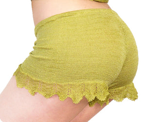 Shorts:  Sexy Lace Trimmed Stretch Knit Drawstring Shorts KrinkeSpun KD dance Made In USA @KDdanceNewYork #MadeInUSA - 2