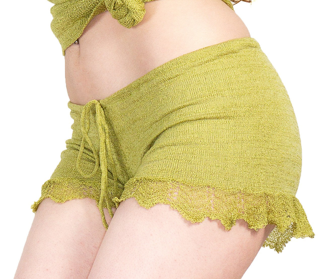 Shorts:  Sexy Lace Trimmed Stretch Knit Drawstring Shorts KrinkeSpun KD dance Made In USA @KDdanceNewYork #MadeInUSA - 5