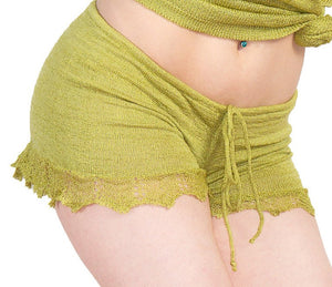 Shorts:  Sexy Lace Trimmed Stretch Knit Drawstring Shorts KrinkeSpun KD dance Made In USA @KDdanceNewYork #MadeInUSA - 1