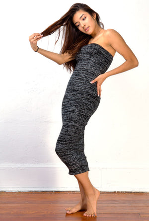 BodyCon Stretch Knit Tube Maxi Dress Sleeveless Sexy Sweater Dress Made In USA