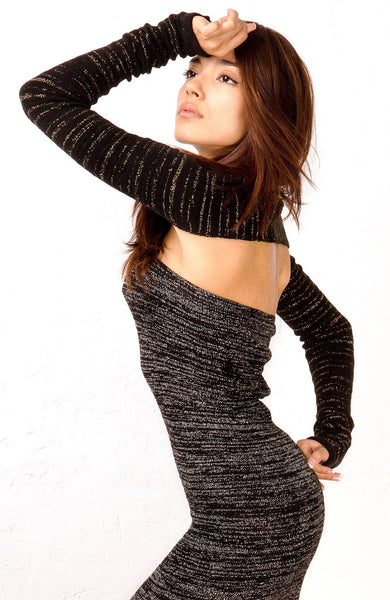 Metallic Striped Stretch Knit Pencil Shrug by KD dance New York Fun Chic & Durable Stripes Made In USA KDdanceNewYork.com MadeInUSA