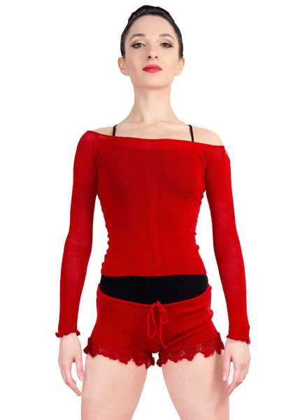 KrinkleSpun Off Shoulder Stretch Knit Ballet Top & Matching Lace Drawstring Shorts Made In USA @KDdanceNewYork #MadeInUSA - 4