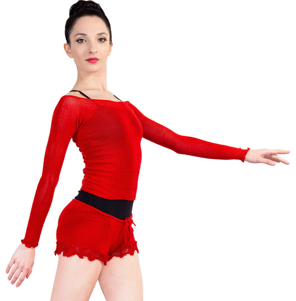KrinkleSpun Off Shoulder Stretch Knit Ballet Top & Matching Lace Drawstring Shorts Made In USA @KDdanceNewYork #MadeInUSA - 3