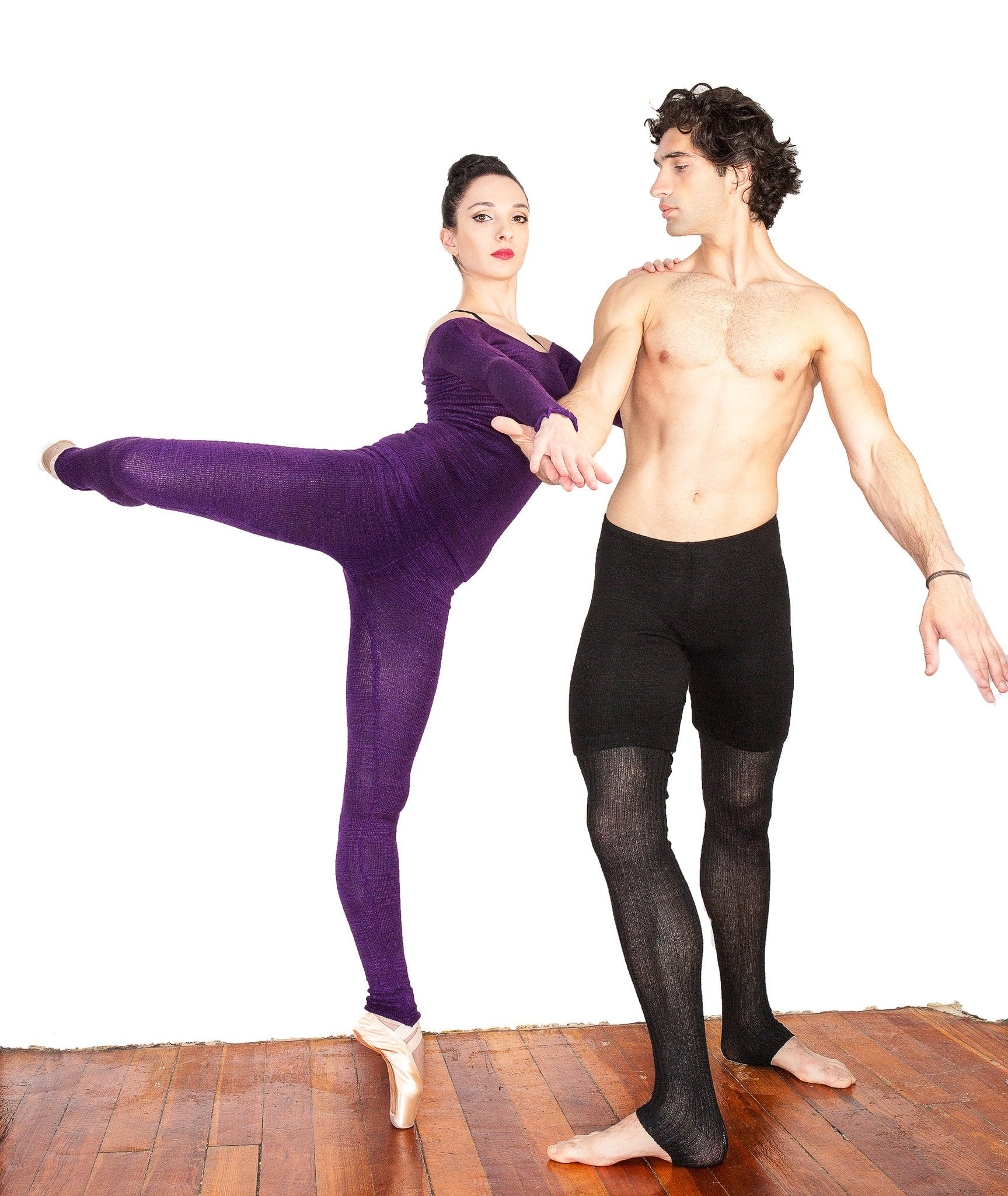 Ballet Dance Warm Up Off Shoulder Dress & Matching Stretch Knit Low Rise KD dance & Yoga Leggings @KDdanceNewYork #MadeInUSA - 6