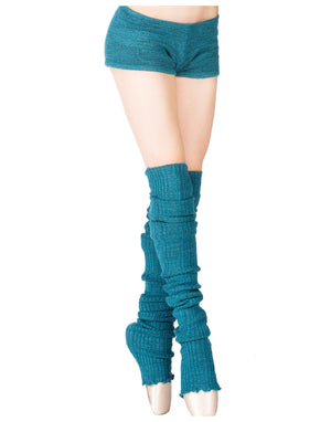 Thigh High Leg Warmers, Booty Shorts & Off Shoulder Ballet Neck Top Stretch Knit 3 Piece Dance Set Made In USA