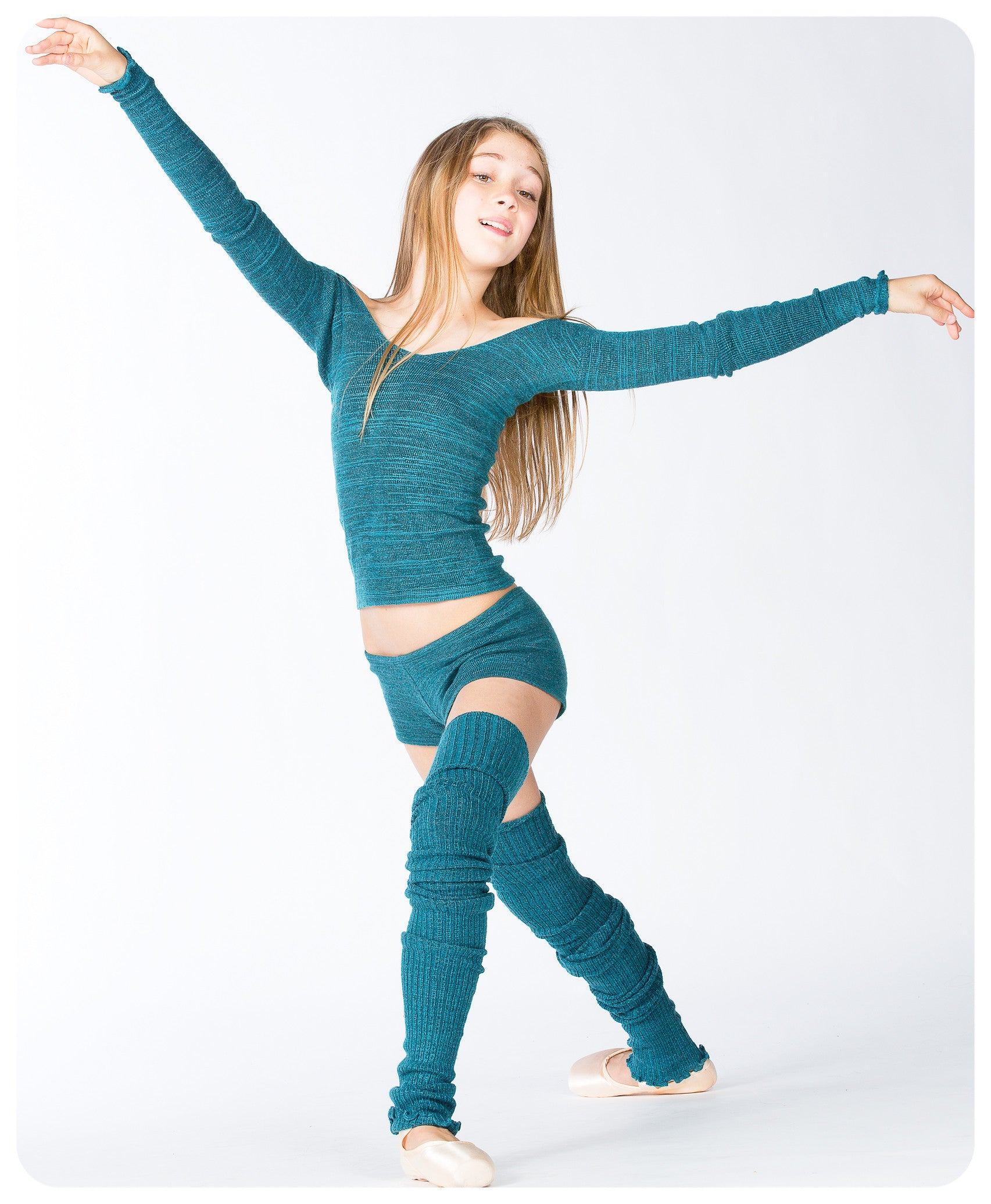 Thigh High Leg Warmers, Boy Shorts & Off Shoulder Boat Neck Top 3 Piece Stretch Knit Set by KD dance