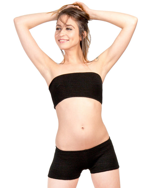 Bare Belly Crop Bandeau & Boy Short Basic by KD dance New York Perfect For Layering Under Sheer Knits Stretch Knit Made In USA @KDdanceNewYork #MadeInUSA - 3