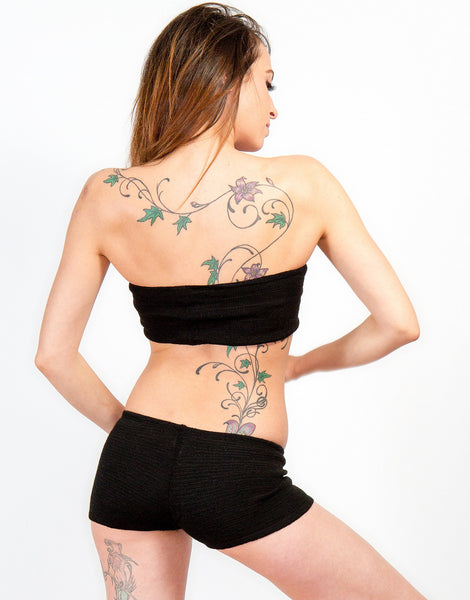Charcoal / Large Bare Belly Crop Bandeau & Boy Short Basic by KD dance New York Perfect For Layering Under Sheer Knits Stretch Knit Made In USA @KDdanceNewYork #MadeInUSA - 1