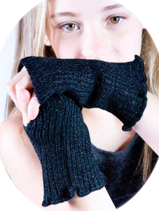 New York Black / Six Inch Hand Warmers Fingerless Hand Warmers / with Thumb Hole @KDdanceNewYork #MadeInUSA - 1