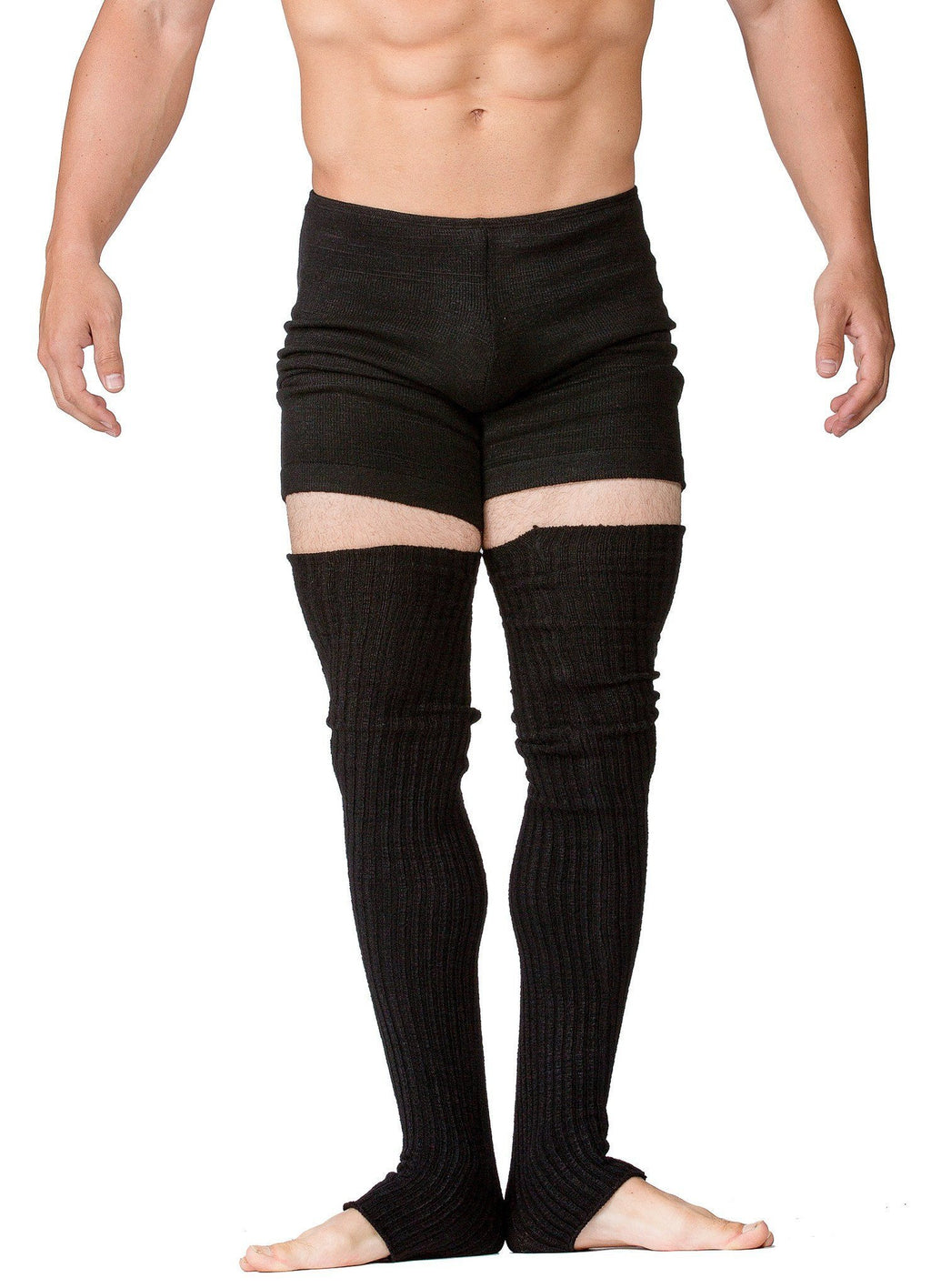 Men's Ballet & Yoga Shorts With Matching 30 Inch Leg Warmers Stretch Knit, Low Rise by KD dance