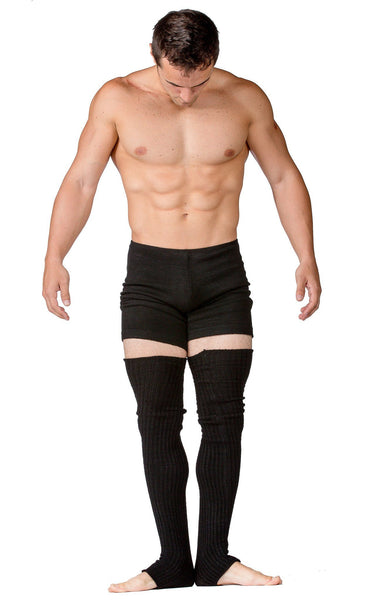 Male Dancewear Shorts / Men's Leg Warmers / Gray @KDdanceNewYork #MadeInUSA - 4
