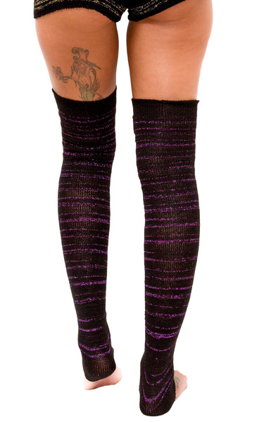 Striped 40 Inch Extra Long Stripe Leg Warmers Black Thigh High Leg Warmers 40 Inch Stripes @KDdanceNewYork #MadeInUSA - 2