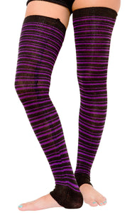 Striped Leg Warmers Extra Long 40 Inch, 30 Inch Thigh High's & 16 Inch Stretch Knit Made In USA