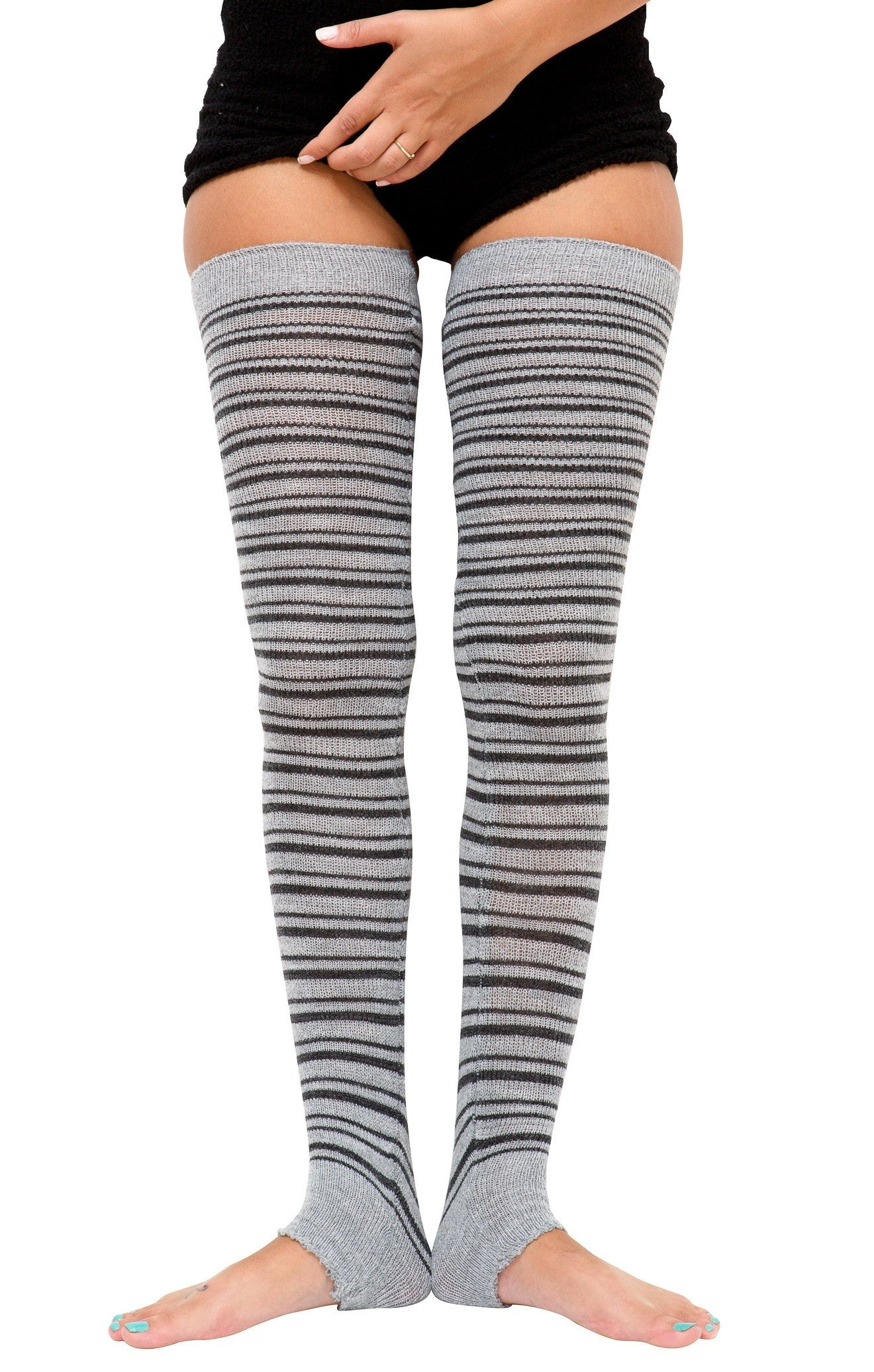 60039d79544be Striped Leg Warmers Extra Long 40 Inch, 30 Inch Thigh High's & 16 Inch  Stretch