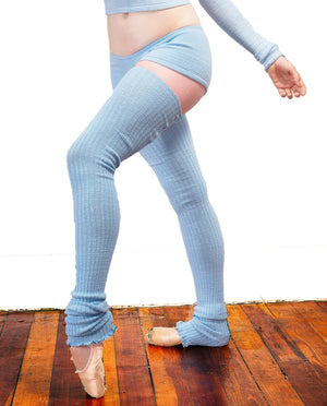 40 Inch Thigh High Leg Warmers Sexy Sweater Off Shoulder Stretch Knit Top & Low Rise Shorts KD dance