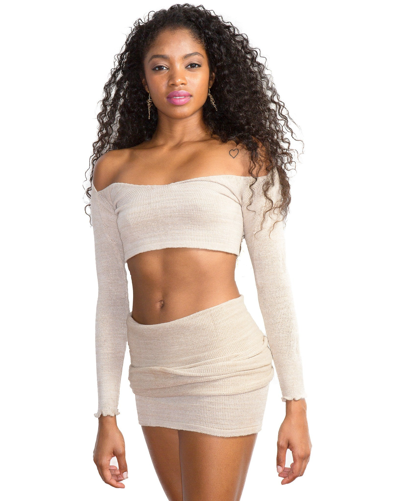 Sexy Sweater Dress Set Off The Shoulder Stretch Knit Crop Top & Knee High Tube Skirt by KD dance New York Cozy & Fashionable @KDdanceNewYork #MadeInUSA - 2