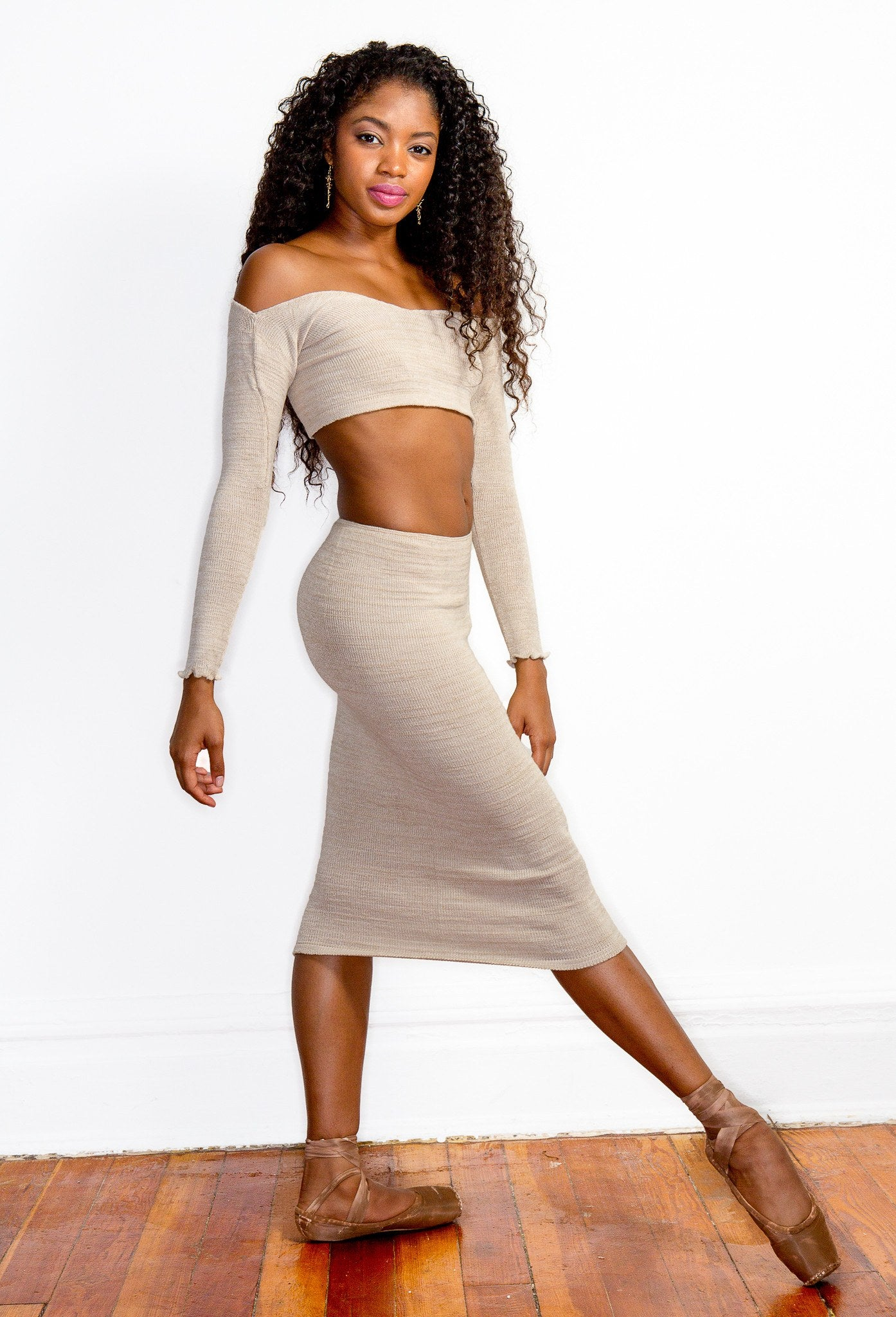 Chocolate / Small Sexy Sweater Dress Set Off The Shoulder Stretch Knit Crop Top & Knee High Tube Skirt by KD dance New York Cozy & Fashionable @KDdanceNewYork #MadeInUSA - 1