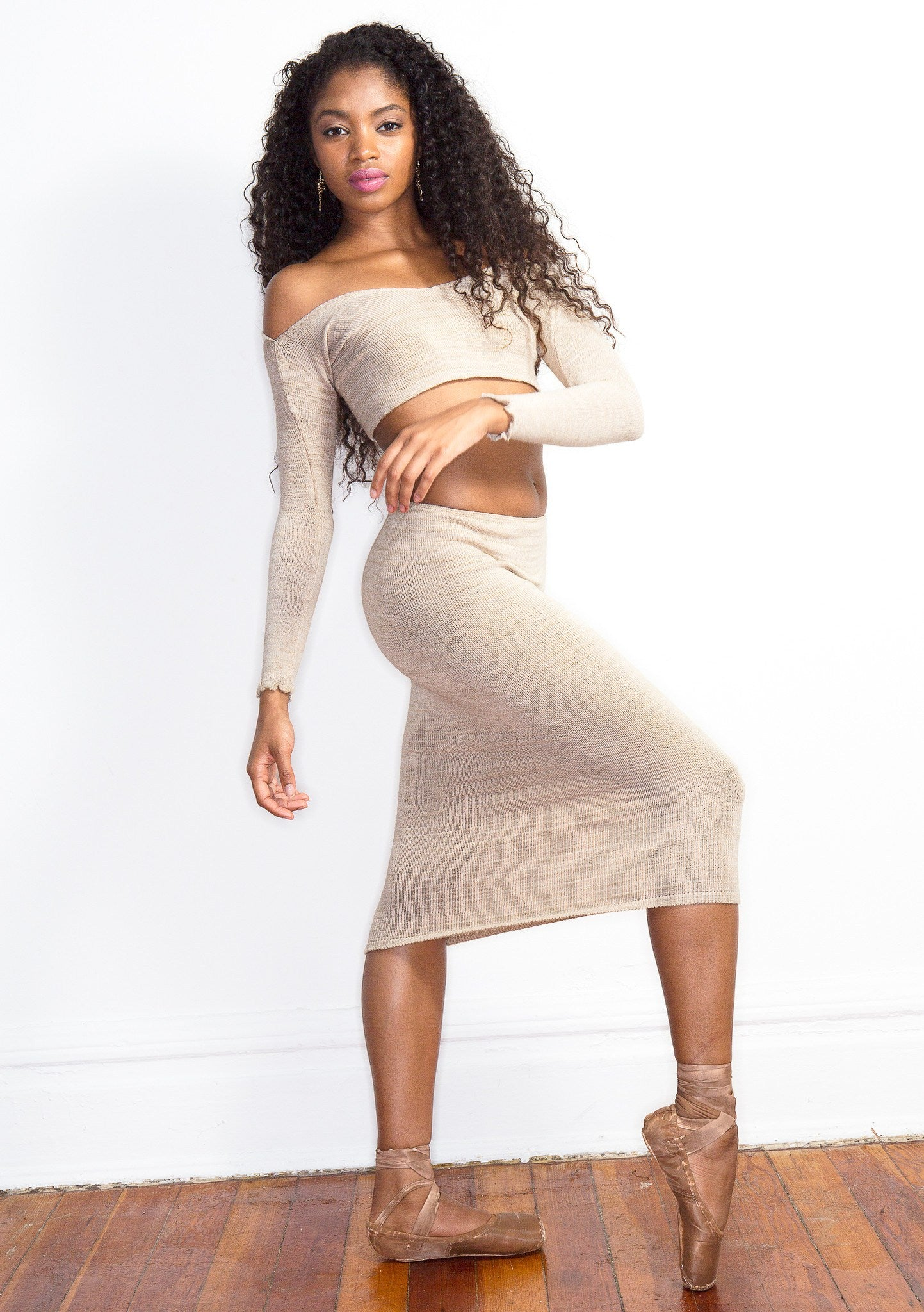 Sexy Sweater Dress Set Off The Shoulder Stretch Knit Crop Top & Knee High Tube Skirt by KD dance New York Cozy & Fashionable @KDdanceNewYork #MadeInUSA - 3