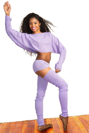 Ballet Yoga Dancewear 3 Pc Set Leg Warmers Sweater Top & Boy Shorts @KDdanceNewYork #MadeInUSA - 8