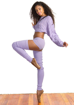 New York Black / X-Large Ballet Yoga Dancewear 3 Pc Set Leg Warmers Sweater Top & Boy Shorts @KDdanceNewYork #MadeInUSA - 2