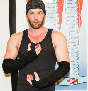 Arm Warmers For Men by KD dance Fingerless Stretch Knit with Thumb Hole High Quality Made In USA @KDdanceNewYork #MadeInUSA - 3