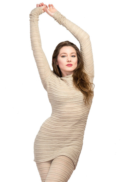 Yoga & Dance Low Rise Hipster Tights & Mesh Shadow Stripe Sweater Top Set by KD dance New York @KDdanceNewYork #MadeInUSA - 6