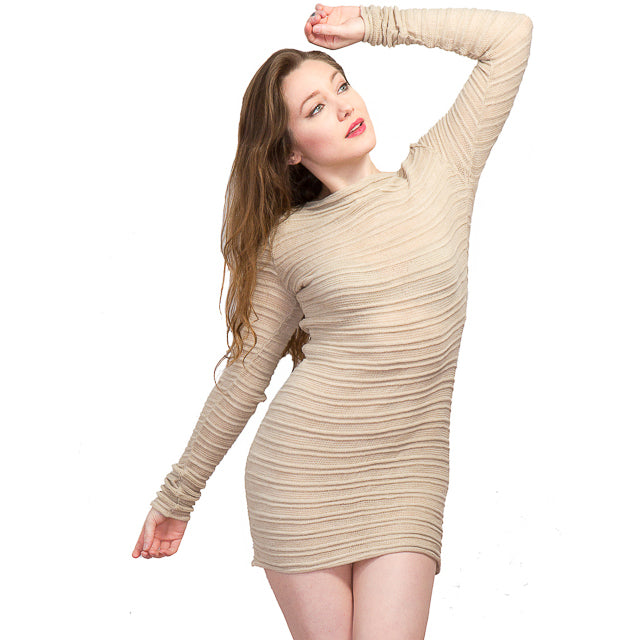 Yoga & Dance Mesh Shadow Stripe Skinny Sweater by KD dance New York Made In USA