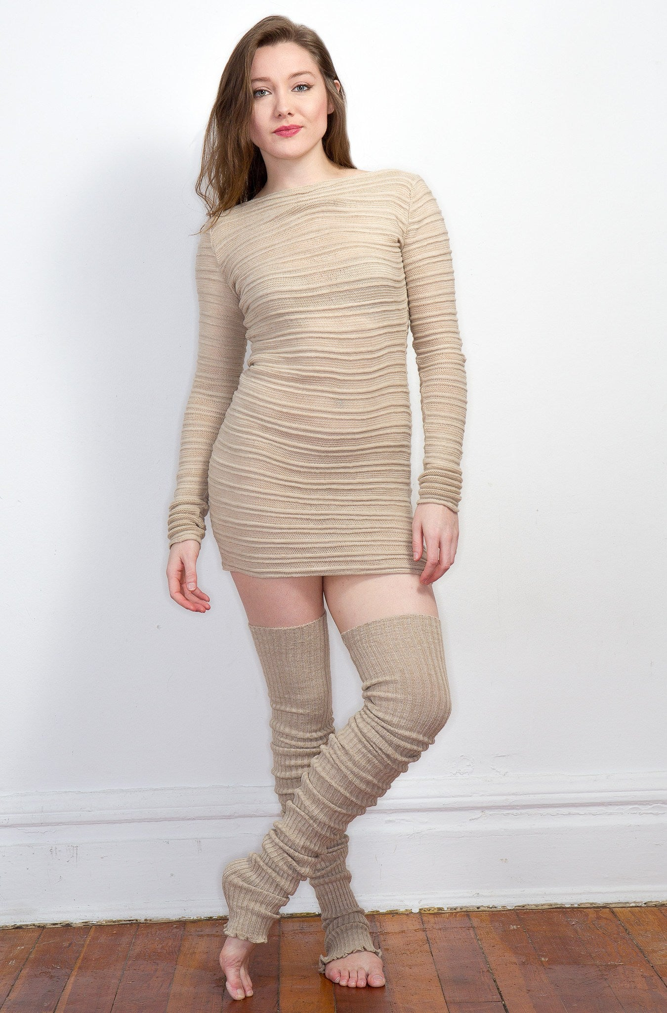 Super Long 40 Inch Thigh High Leg Warmers & Yoga & Dance Mesh Shadow Stripe Sweater Top KD dance @KDdanceNewYork #MadeInUSA - 7