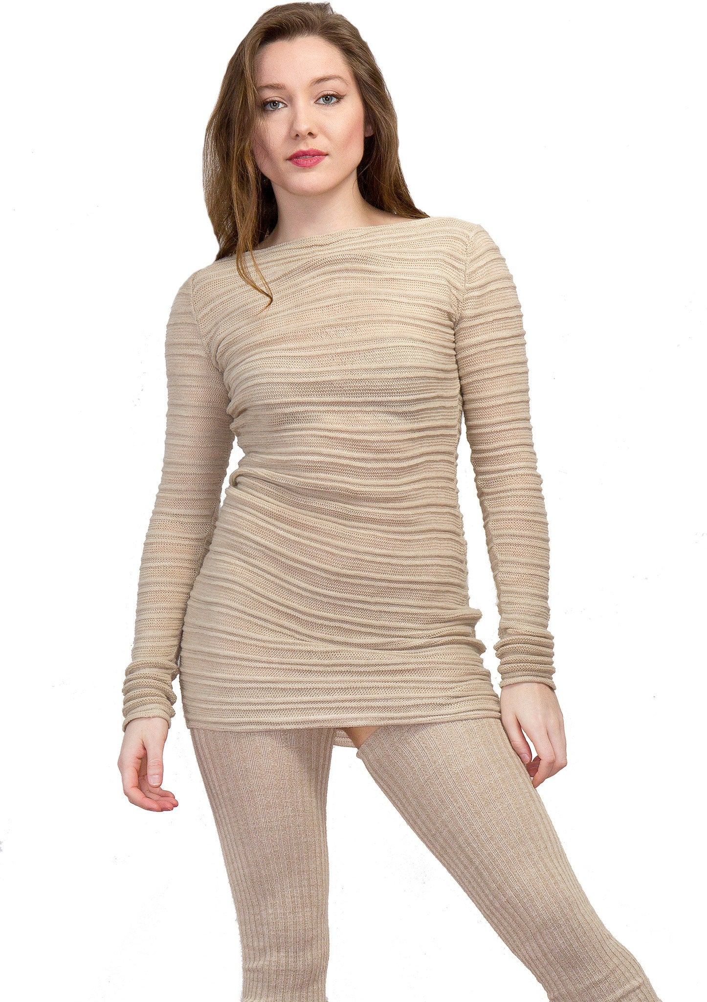 Super Long 40 Inch Thigh High Leg Warmers & Yoga & Dance Mesh Shadow Stripe Sweater Top KD dance @KDdanceNewYork #MadeInUSA - 6