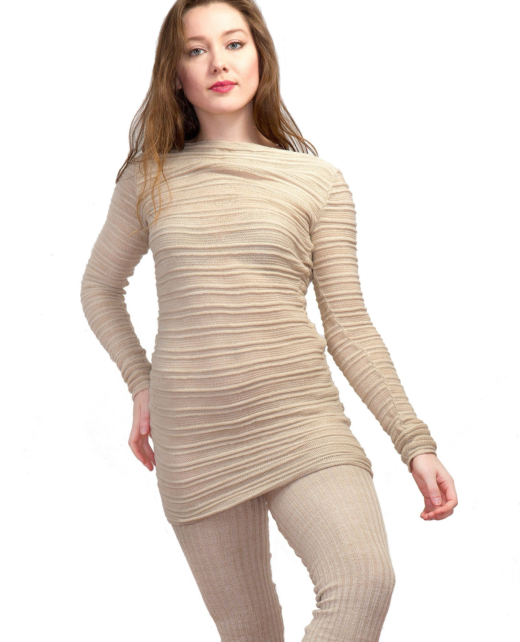 Super Long 40 Inch Thigh High Leg Warmers & Yoga & Dance Mesh Shadow Stripe Sweater Top KD dance @KDdanceNewYork #MadeInUSA - 4