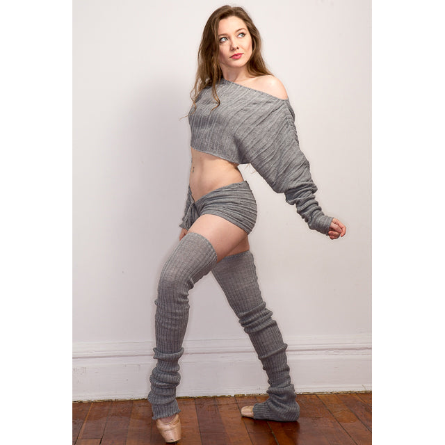 Thigh High Leg Warmers / Cocoon Sweater / Drawstring Sexy Shorts / Dancewear