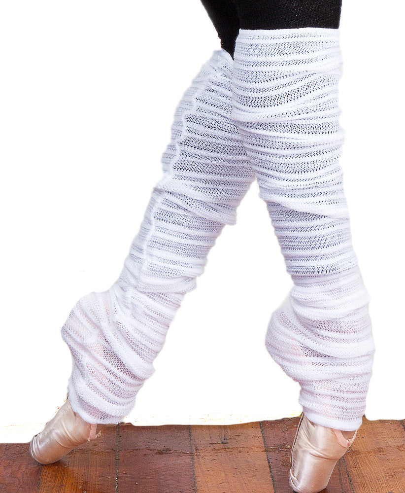 Leg & Arm Warmer Matching Two Pair Set, Stretch Knit Shadow Stripe Mesh ArmWarmers w/Thumb Hole by KD dance Made In USA