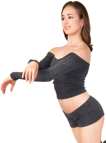 Ballet Off Shoulder Sexy Sweater & Matching Low Rise Booty Shorts High Quality Made In USA @KDdanceNewYork #MadeInUSA