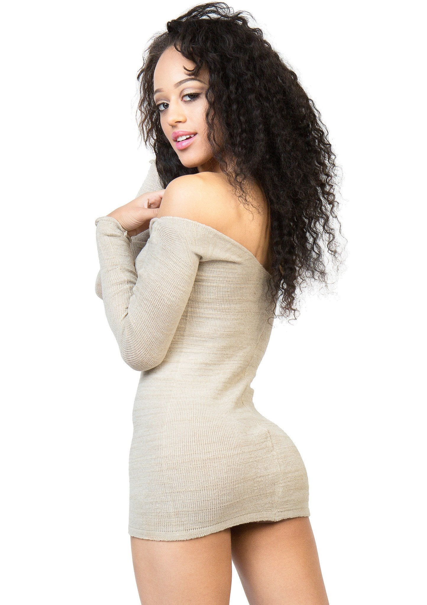 Sexy Sweater Mini Dress / Off The Shoulder @KDdanceNewYork #MadeInUSA - 1