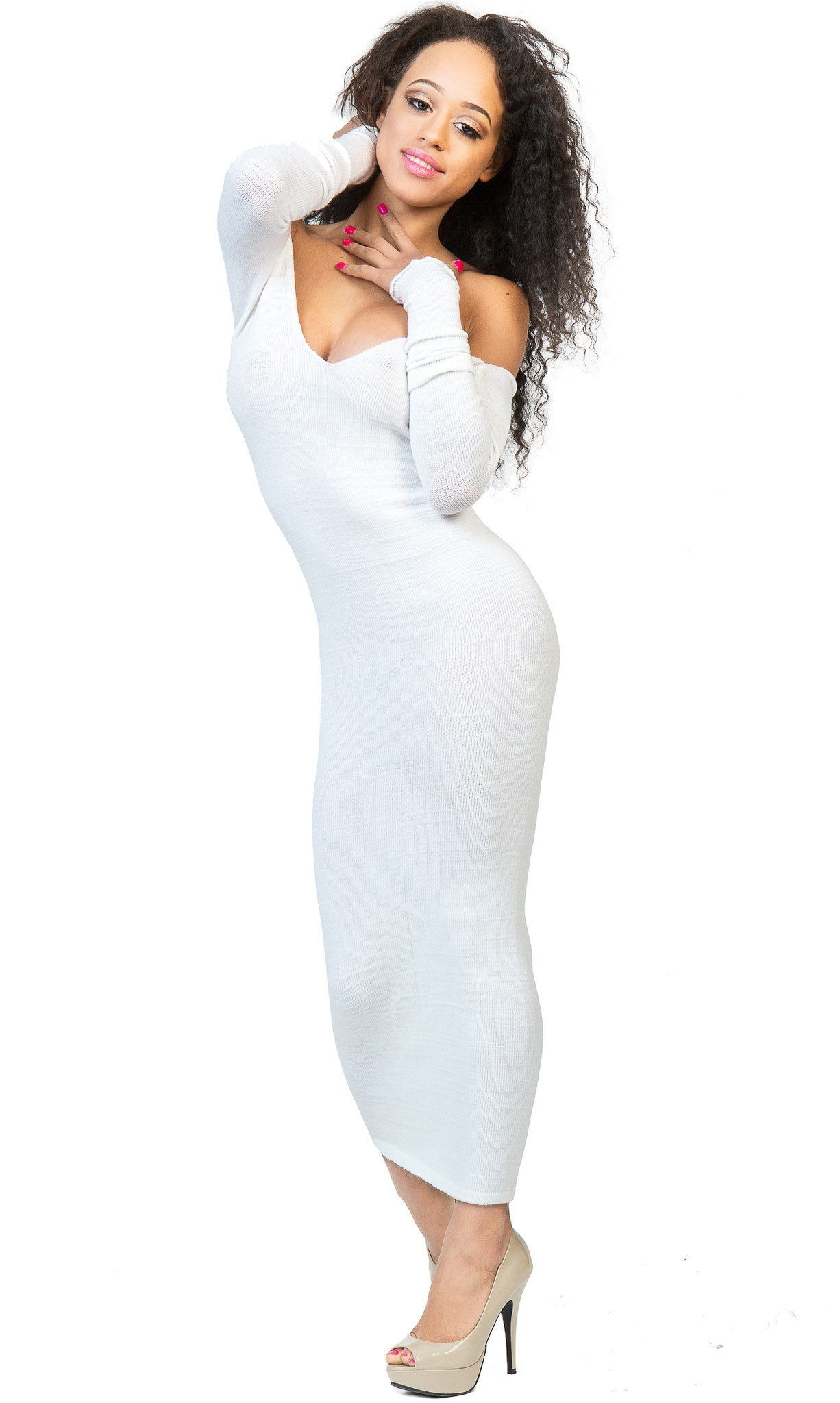 Elegant Ankle Length Cocktail Party Dress Stretch Knit KD dance Sexy, Warm Cozy Maxi Dress Made USA @KDdanceNewYork #MadeInUSA - 2