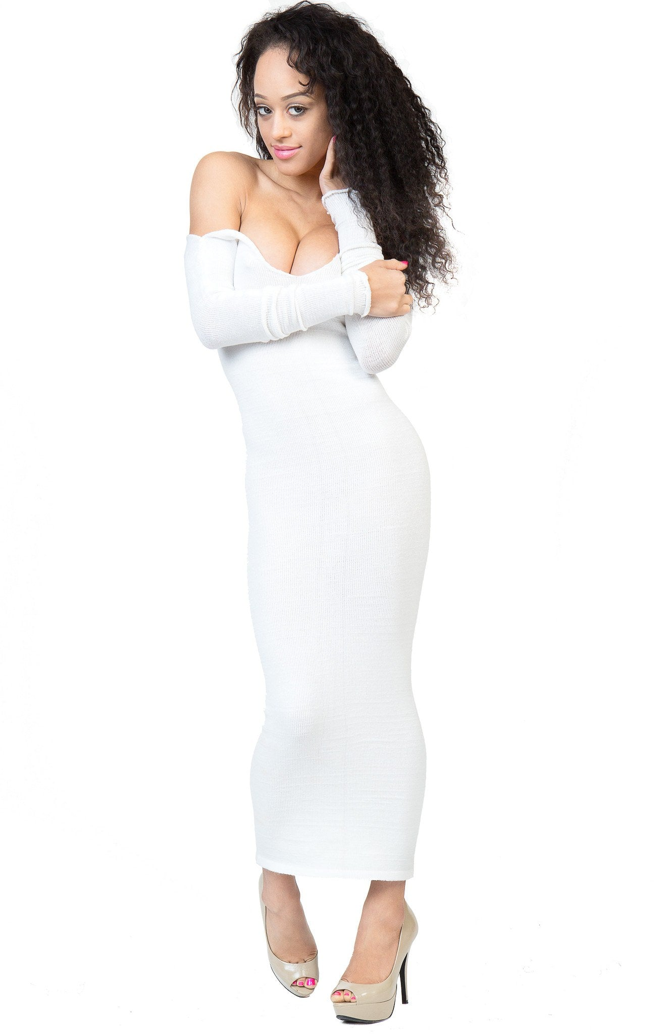 Elegant Ankle Length Cocktail Party Dress Stretch Knit KD dance Sexy, Warm Cozy Maxi Dress Made USA @KDdanceNewYork #MadeInUSA - 5