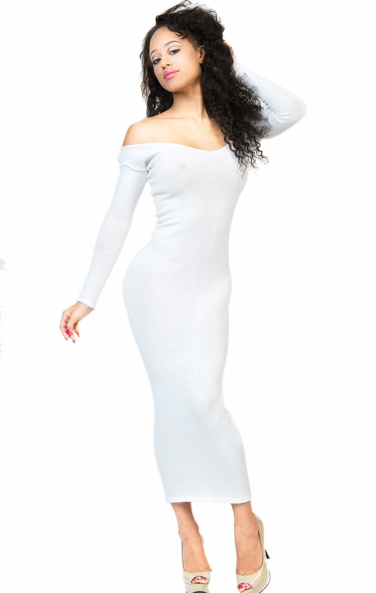 Elegant Ankle Length Cocktail Party Dress Stretch Knit KD dance Sexy, Warm Cozy Maxi Dress Made USA @KDdanceNewYork #MadeInUSA - 1