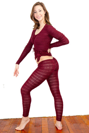 3Pc Set Wrap Top Sweater Self Tie Low Rise Hipster Tights & Racer Back Tank Top KD Dance Made In USA @KDdanceNewYork #MadeInUSA - 5