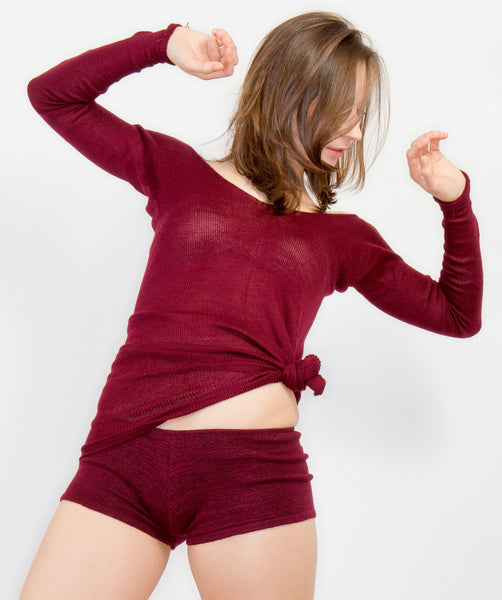 Sheer Dance Class Warm Up Extra Long Sweater & Stretch Low Rise Shorts KD dance @KDdanceNewYork #MadeInUSA - 6