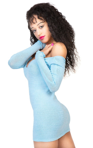 Baby Blue Sexy Sweater Mini Dress KD dance Stretch Knit Cozy Warm & Durable High Quality Made In USA @KDdanceNewYork #MadeInUSA - 3