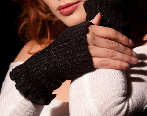 Fashionable Fingerless Hand Warmers / Gloves Mitts Ruffled Top & Thumb Hole KD dance Made In USA @KDdanceNewYork #MadeInUSA - 3