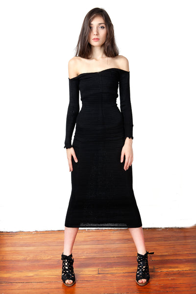 Off Shoulder Maxi Sweater Dress / BodyCon Calf Length Dress